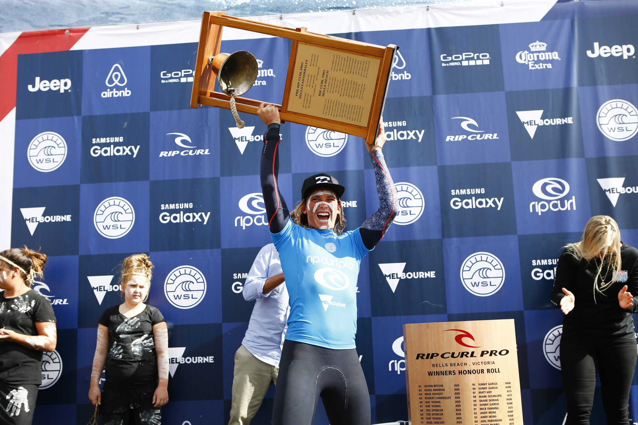 Courtney Conlogue won the Rip Curl Pro Bells Beach while Sally Fitzgibbons placed runner-up.
