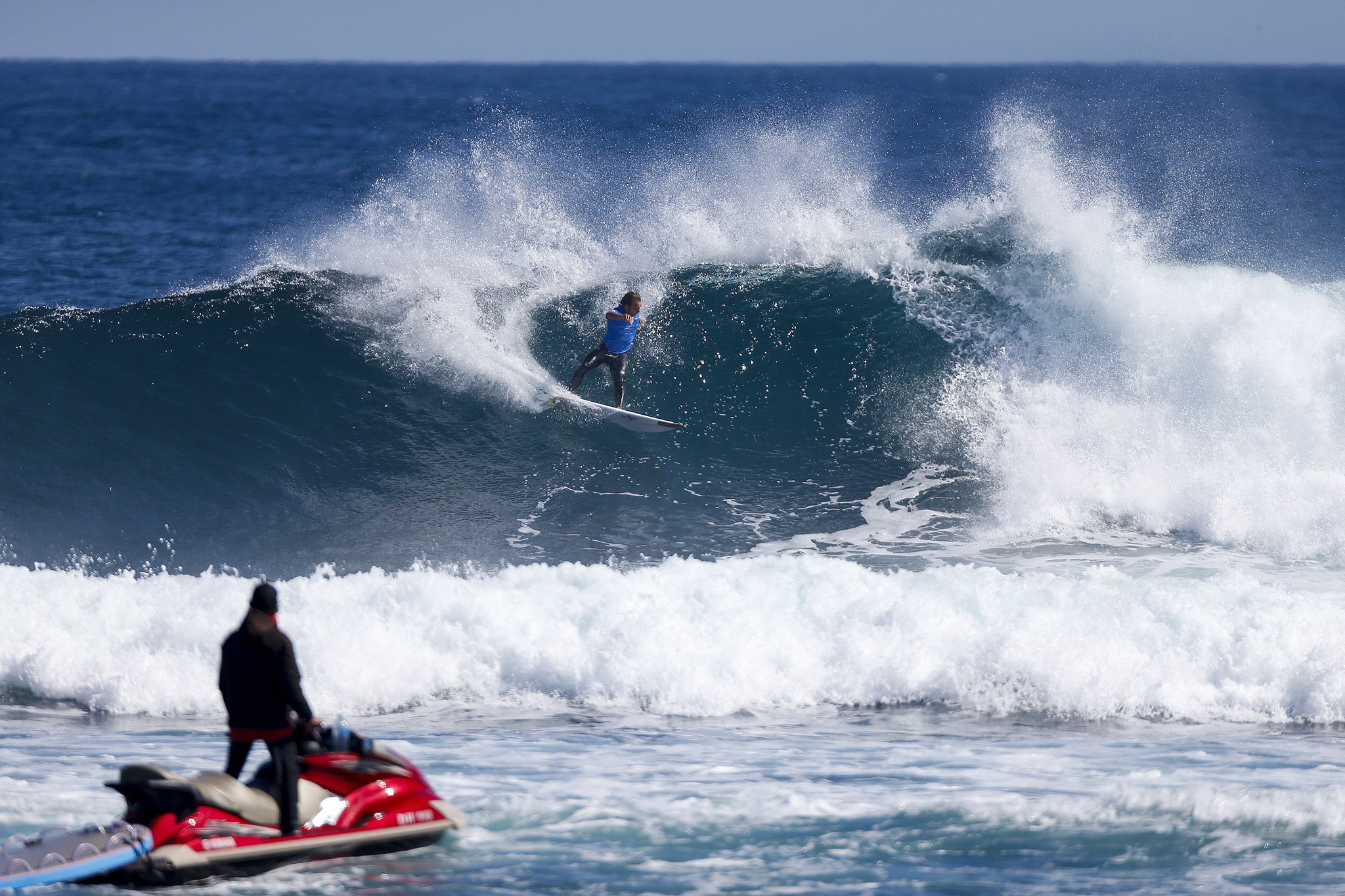 Caio Ibelli winning his round three heat at the Drug Aware Margaret River Pro in Western Australia.