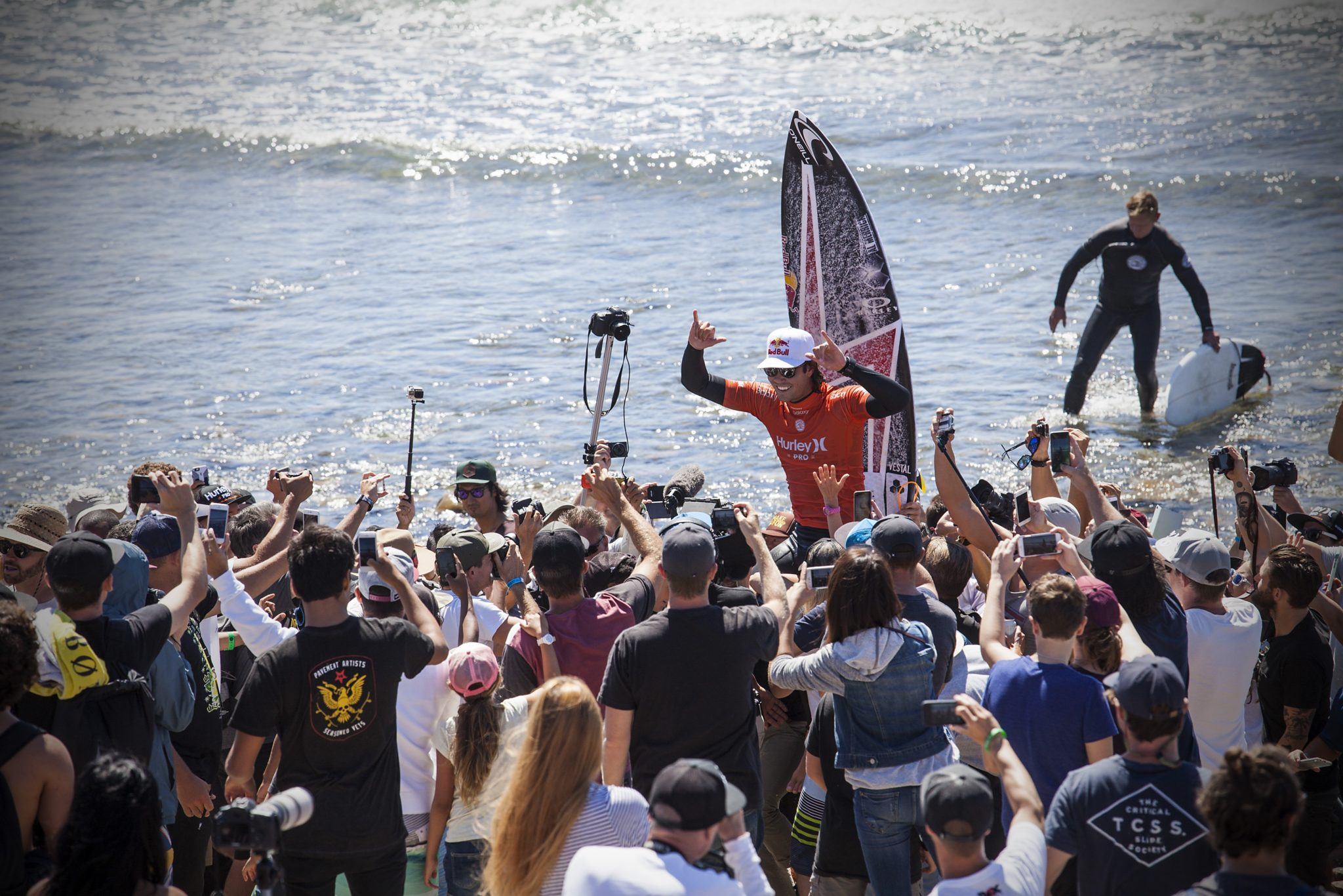Jordy Smith after winning the final at The Hurely Pro Trestles