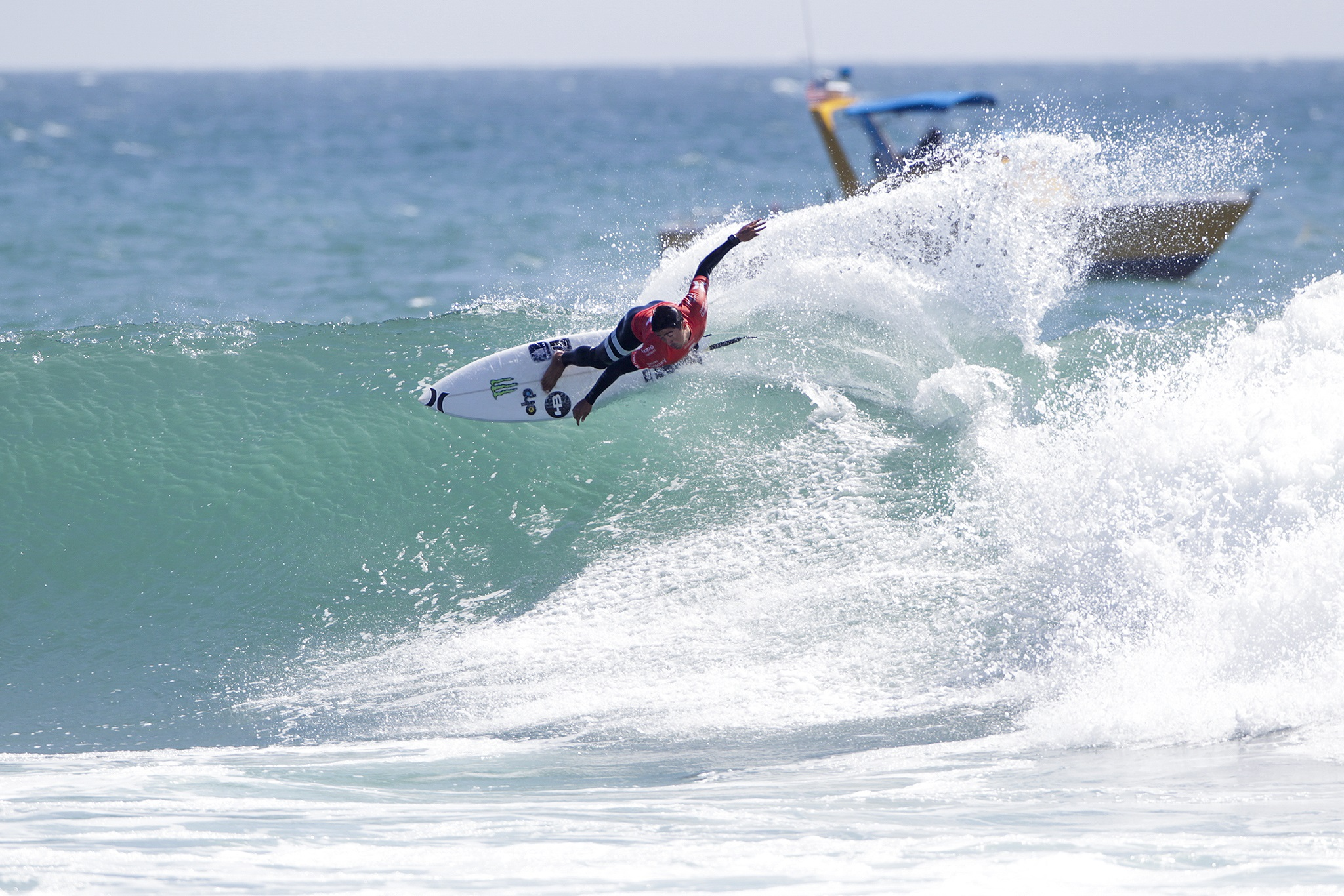 Miguel Pupo winning Heat 12 of Round Two of the Hurley Pro Trestles.