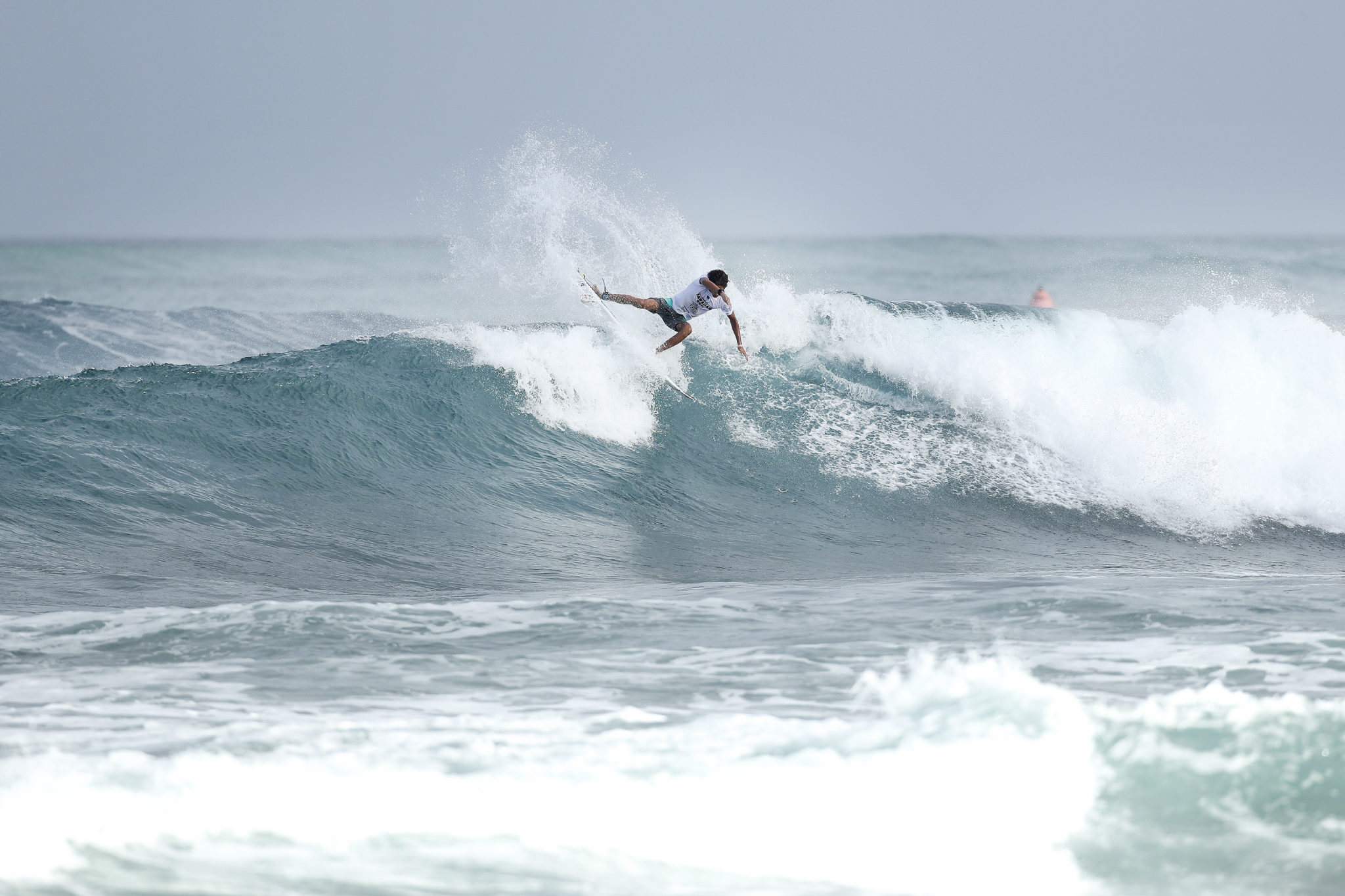 Samuel Pupo placed second in Heat 4 of Round Three at the Hawaiian Pro at Haleiwa, Hawaii today.