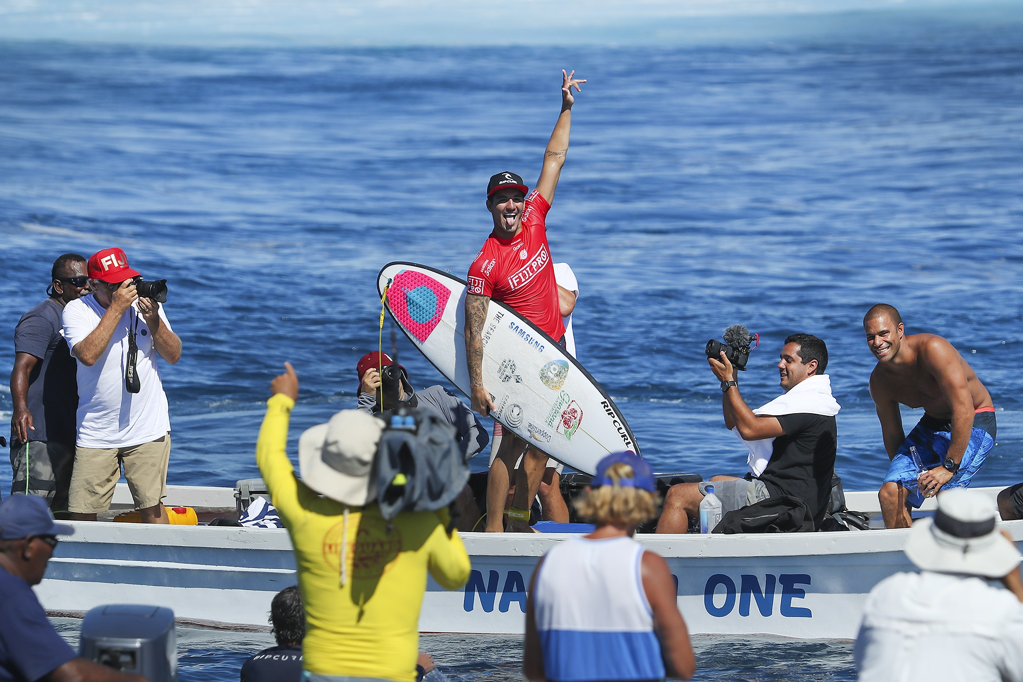 Gabriel Medina celebrates winning the 2016 Fiji Pro.