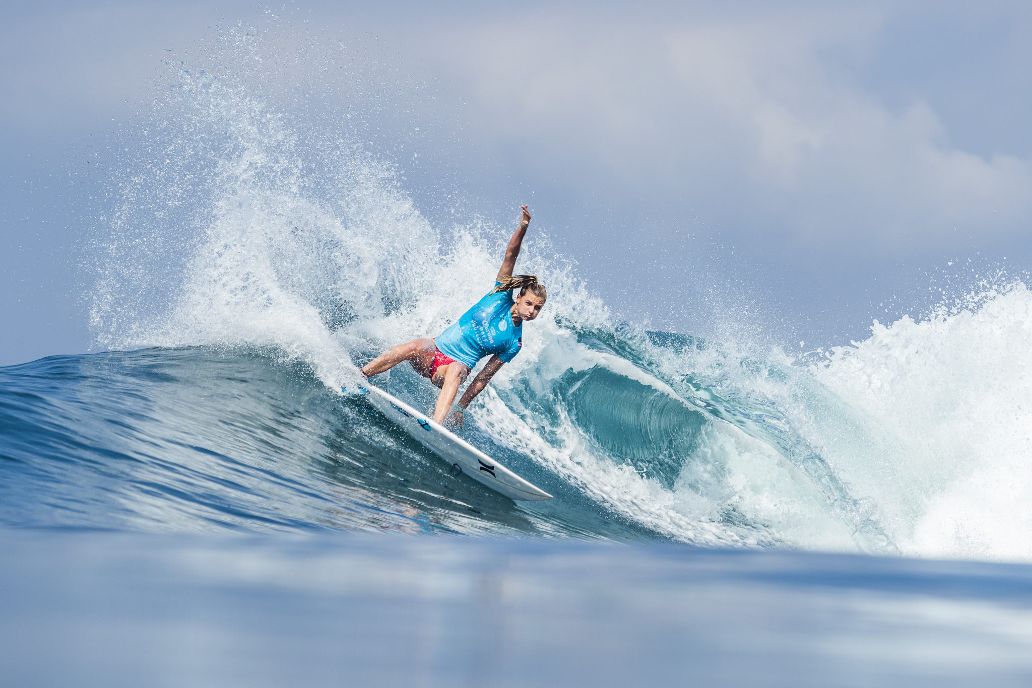Lakey Peterson (USA) is the WINNER of the women's 2018 Corona Bali Protected after winning the final at Keramas, Bali, Indonesia.  With the victory Peterson takes the Jeep Leader Yellow Jersey going into the next event.