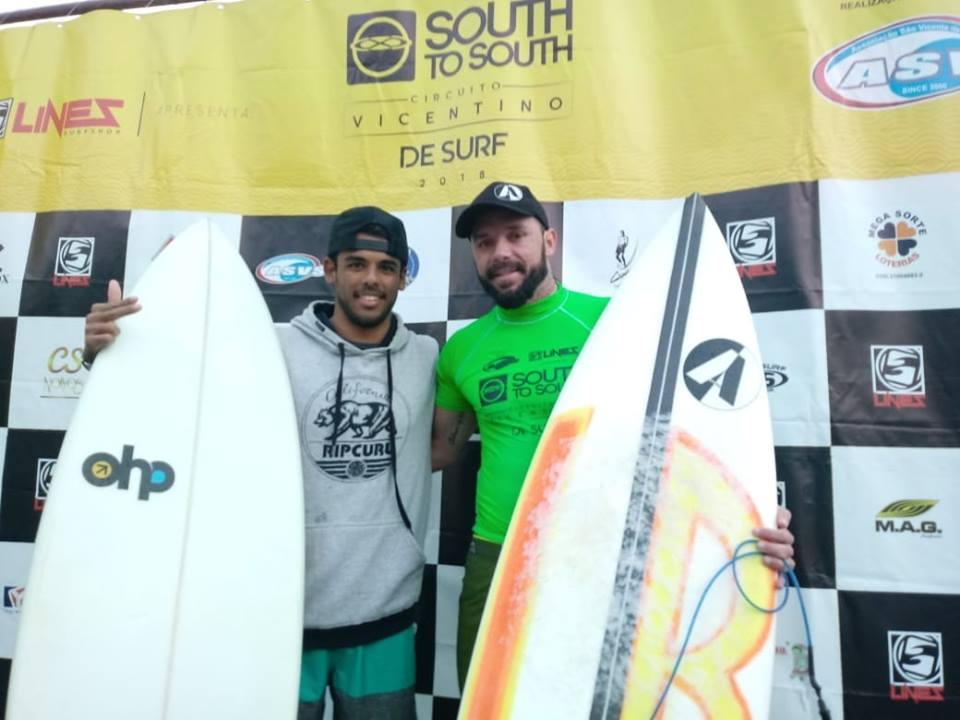 Edgar Groggia e Vinicius Bico são os primeiros campeões do Vicentino de Surf 2018 Foto Charles Roberto