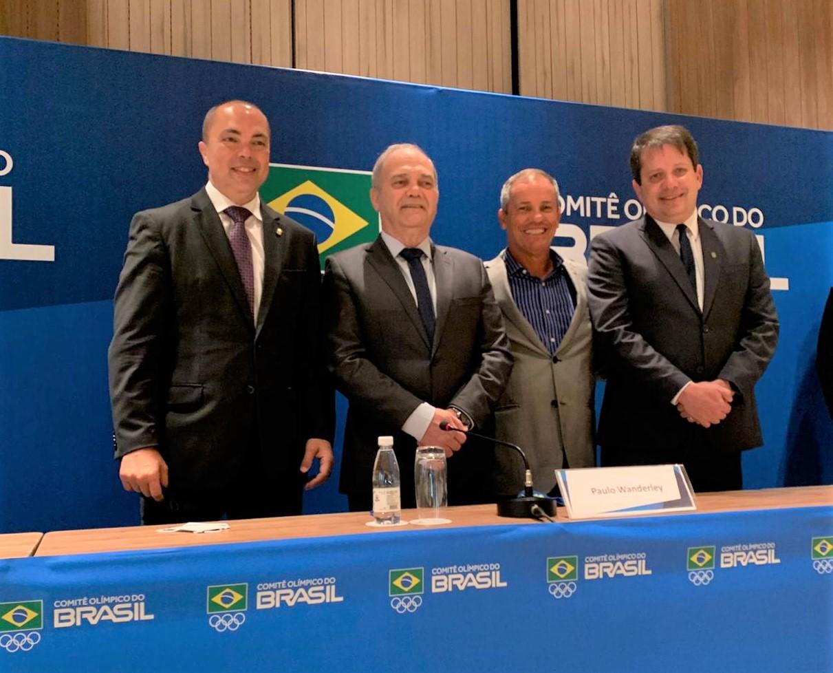 Rogério Sampaio, diretor geral do COB, Paulo Wanderley, Adalvo Argolo e Marco La Porta.