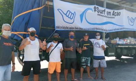 Surfistas arrecadam alimentos para doar a comunidades da Baixada