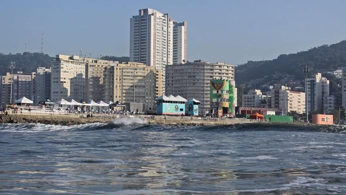Quebra-Mar preparado para a abertura do Circuito Santos Surf 2016 (Foto de 2015 / Divulgação / FMA Notícias