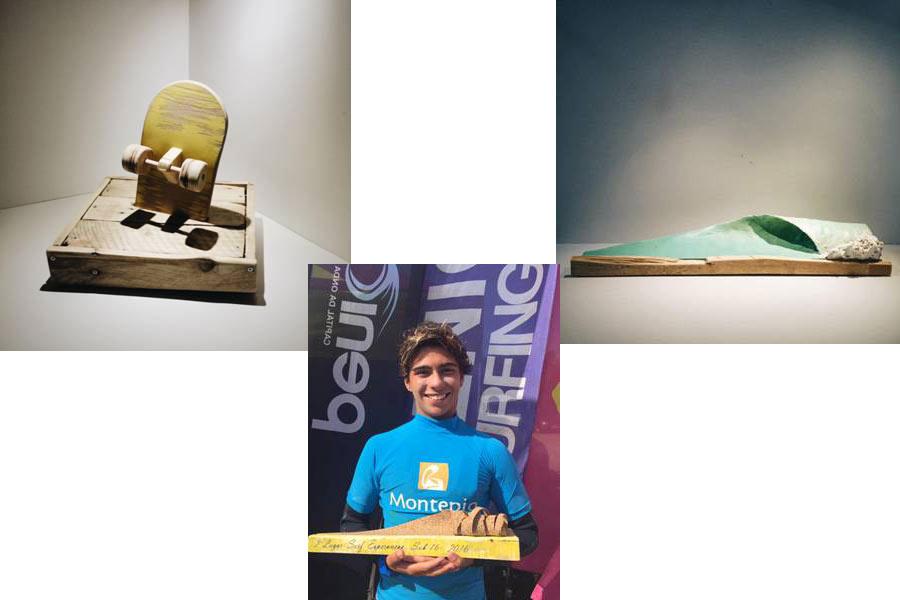 O primeiro troféu foi entregue para Salvador Couto, campeão nacional de surf na categoria sub-16 / Divulgação