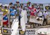 Brian Toth, Ricardo dos Santos, Jean da Silva e Miguel Pupo no pódio (@WSL / Daniel Smorigo)