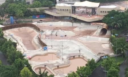 Fortes chuvas inundam pista de skate em SBC