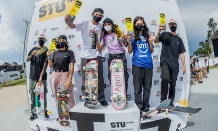 Pedro Barros, Dora Varella, Rayssa Leal e João Lucas Alves são os campeões do STU National